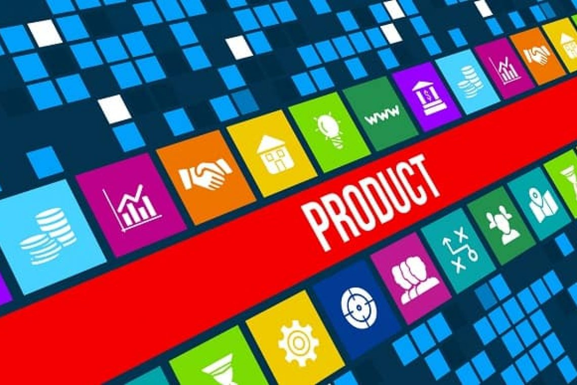 Product concept image with business icons and copyspace.